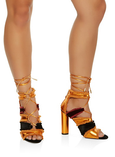 Frayed Lace Up High Heel Sandals,ORANGE,large