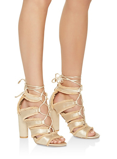 Frayed Lace Up High Heel Sandals,NUDE,large