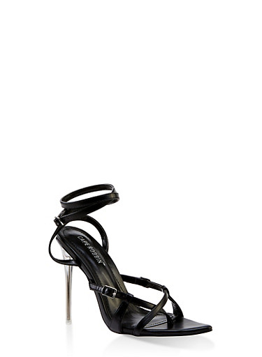 Buckle Detail Wrap Around High Heel Sandals,BLACK,large