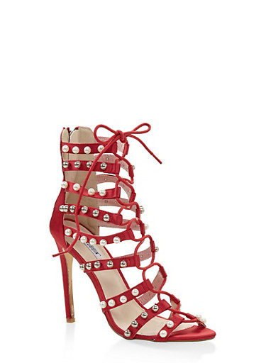 Studded Lace Up High Heel Sandals,WINE,large