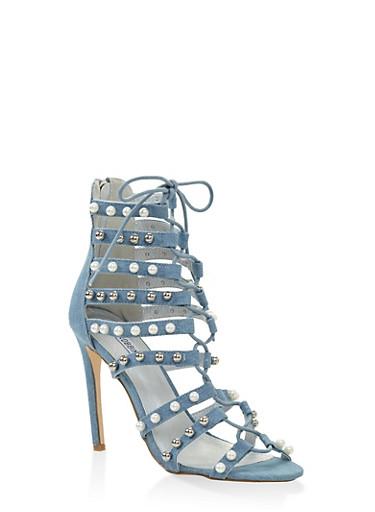Studded Lace Up High Heel Sandals,DENIM,large