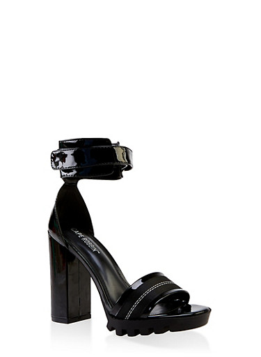 Sporty Band Platform High Heel Sandals,BLACK,large