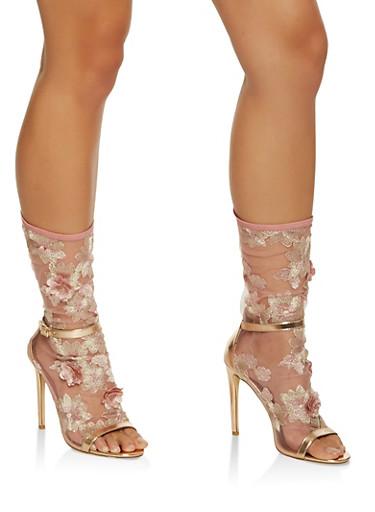 Embroidered Mesh High Heel Booties,BRONZE,large