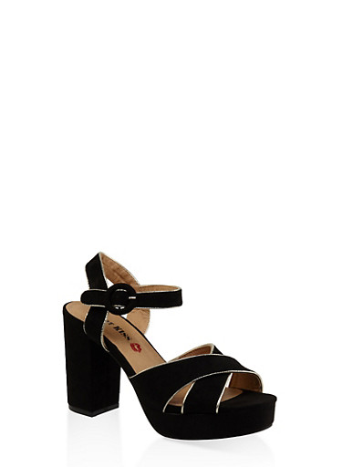 Criss Cross Block Heel Platform Sandals | Tuggl