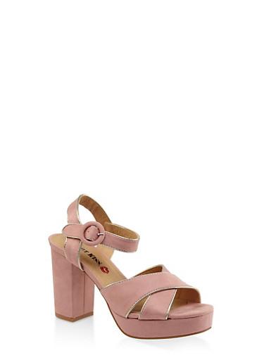 Criss Cross Block Heel Platform Sandals - BLUSH - 3111073112540