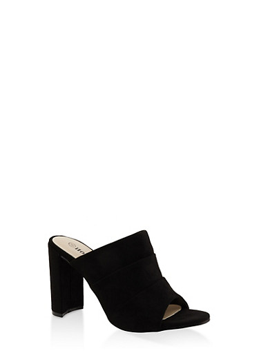 Faux Suede High Heel Mules - BLACK - 3111073112782