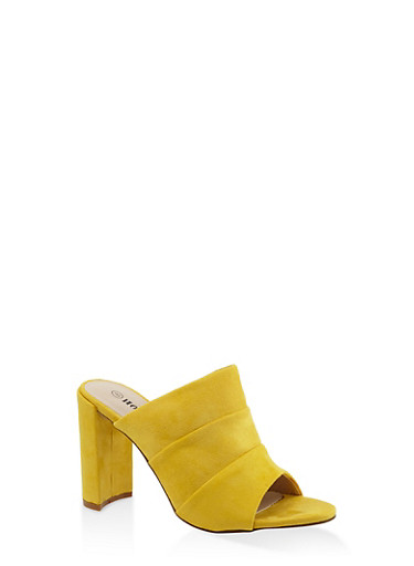 Faux Suede High Heel Mules - YELLOW - 3111073112782