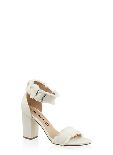Frayed Band Block Heel Sandals - WHITE - 3111073112820