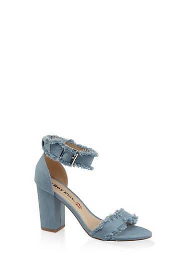 Frayed Band Block Heel Sandals - DENIM - 3111073112820