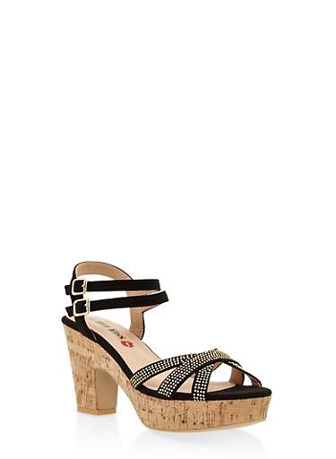Studded Cork Platform Sandals,BLACK,large