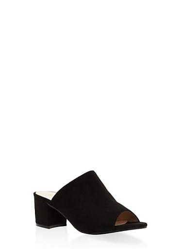 Faux Suede Mule Sandals,BLACK,large