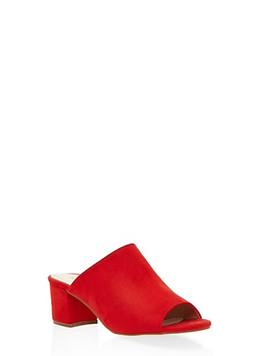 Faux Suede Mule Sandals - RED - 3111073115640