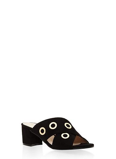 Grommet Strap Mule Sandals,BLACK,large