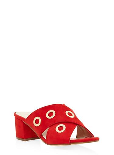 Grommet Strap Mule Sandals - RED - 3111073116548
