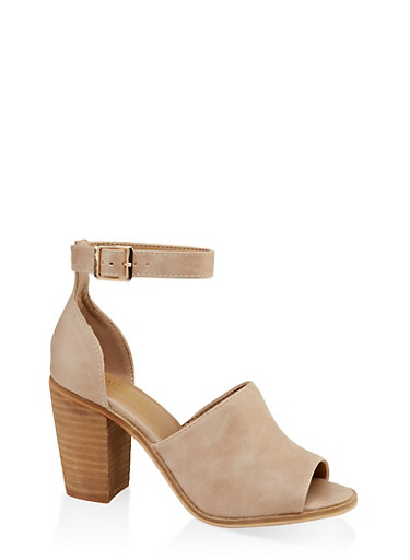 Open Toe Block Heel Sandals,BEIGE,large