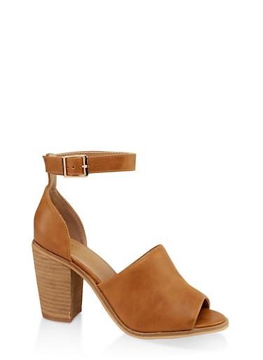 Open Toe Block Heel Sandals,TAN,large