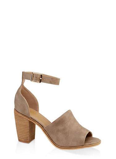 Open Toe Block Heel Sandals,STONE,large