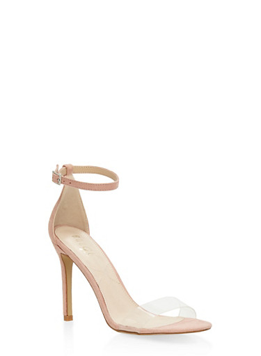 Clear Band High Heel Sandals - NUDE - 3111073541001