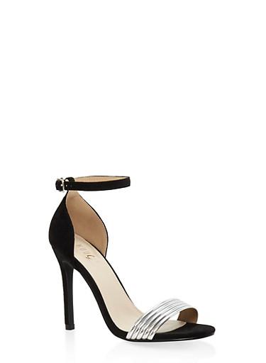 Metallic Detail Ankle Strap High Heel Sandals,BLACK,large
