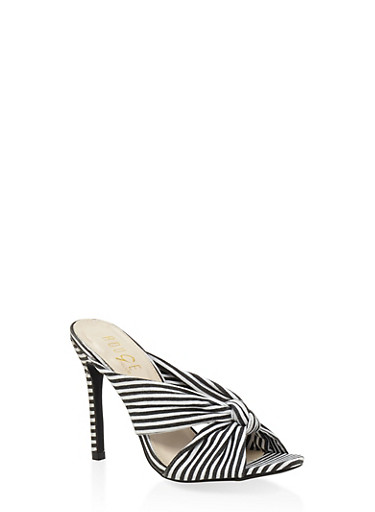 Striped Knot High Heel Mules,BLACK,large