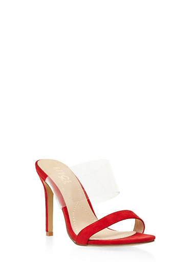 Clear Band High Heel Mules - RED - 3111073541026