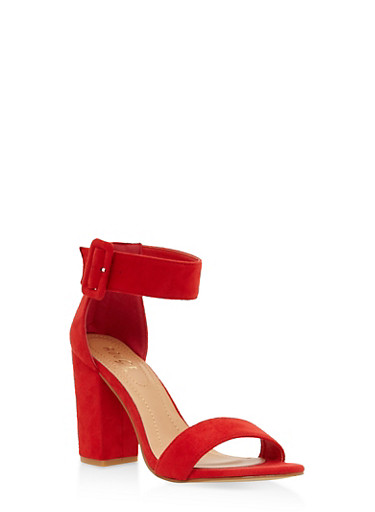 Ankle Strap Block Heel Sandals,RED,large