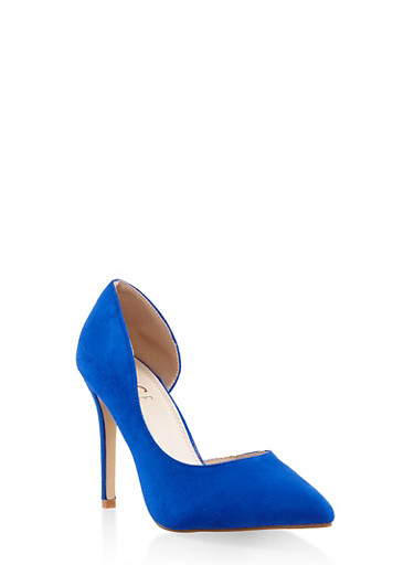 Pointed Toe High Heel Pumps,NAVY,large