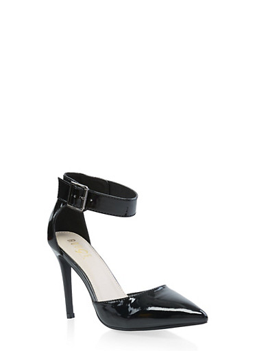Pointed Toe Ankle Strap Pumps,BLACK,large