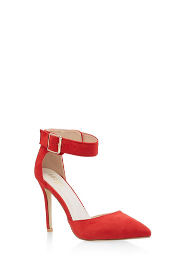 Pointed Toe Ankle Strap Pumps,RED,large
