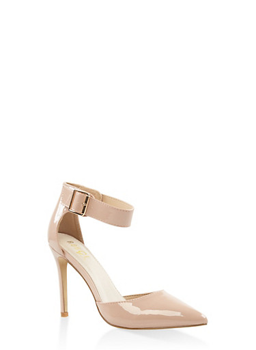 Pointed Toe Ankle Strap Pumps,BLUSH,large