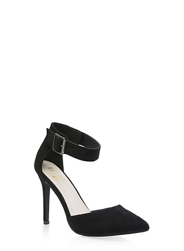 Pointed Toe Ankle Strap Pumps,BLACK SUEDE,large