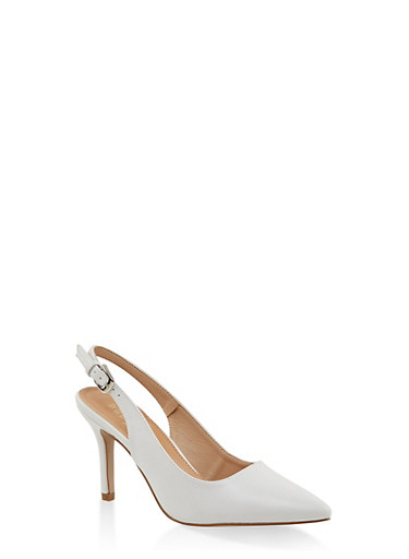 Pointed Toe Slingback Pumps,WHITE,large