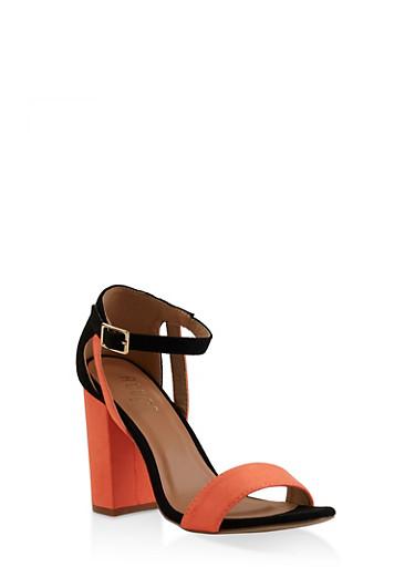 Block High Heel Sandals,NEON ORANGE,large