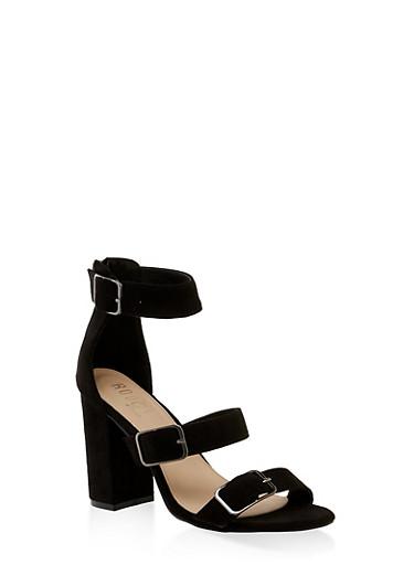 Three Buckle Strap High Heel Sandals,BLACK SUEDE,large