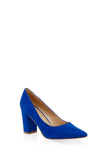 Block Heel Pointed Toe Pumps,BABY BLUE,large