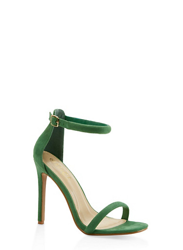 Ankle Strap Faux Suede High Heel Sandals,GREEN,large