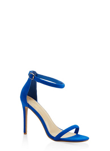 Ankle Strap Faux Suede High Heel Sandals - BLUE - 3111074044257