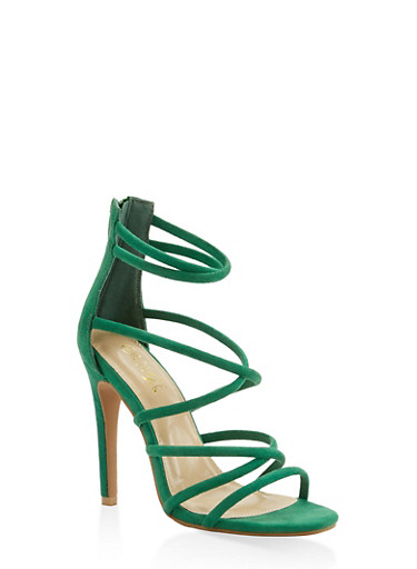 Strappy Faux Suede High Heel Sandals,GREEN,large