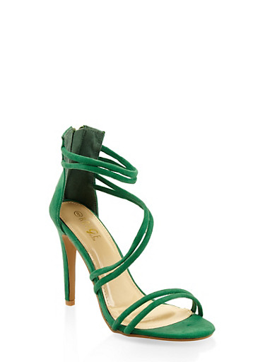 Faux Suede Cross Strap High Heel Sandals,GREEN,large