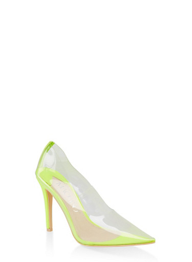 Clear Pointed Toe Pumps,NEON YELLOW,large
