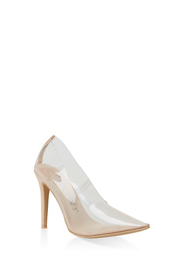 Clear Pointed Toe Pumps,NUDE,large