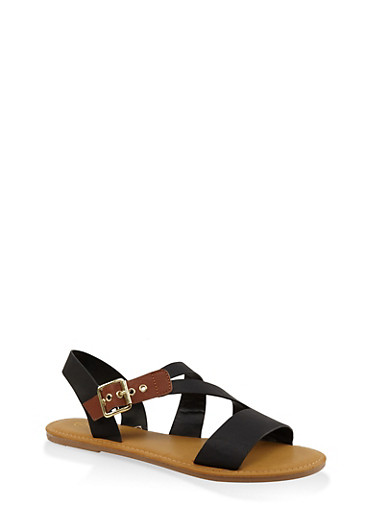 Buckle Strap Sandals,BLACK,large