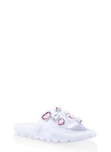 Bejeweled Pool Slides,WHITE,large