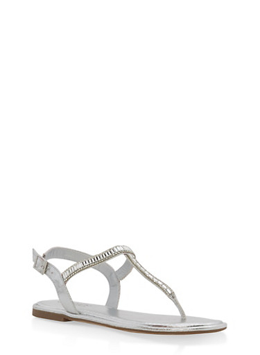 Jeweled Thong Sandals - SILVER - 3112004062470
