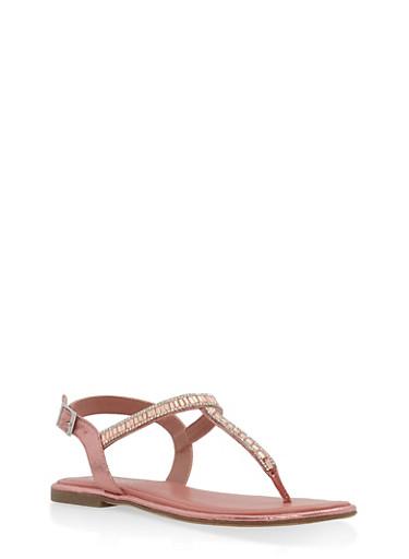 Jeweled Thong Sandals,MAUVE,large