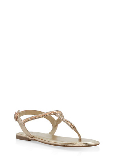Jeweled Thong Sandals,GOLD,large