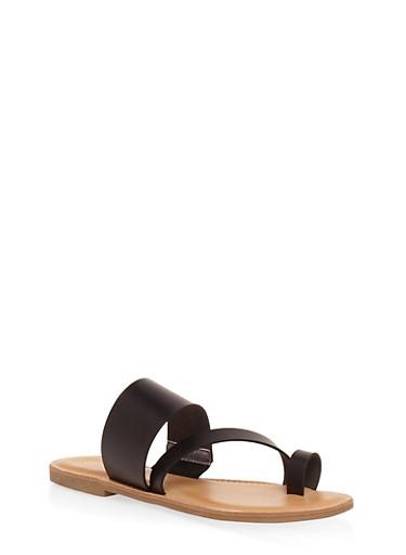 Toe Ring Strap Slide Sandals,BLACK,large