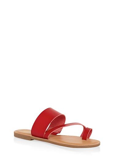 Toe Ring Strap Slide Sandals,RED,large