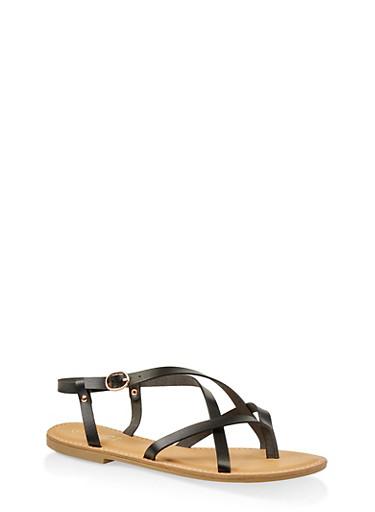 Cross Strap Slingback Sandals,BLACK,large