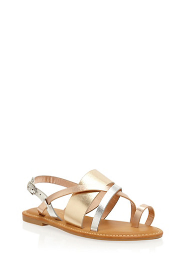 Strappy Toe Ring Sandals,METALLIC MULTI,large